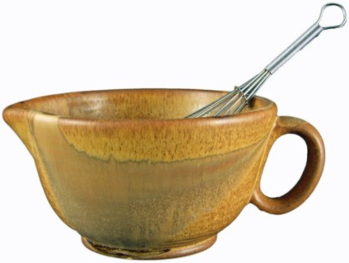 PRADO STONEWARE COLLECTION - Perfect Grip 30 Ounce Mixing Bowl With Metal Whisk - Rustic Brown