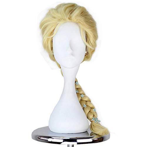 Synthetic Princess Child Adult Wig Long Straight Braid Hair Halloween Cosplay Costume Wigs With Hairpin Accessories]()
