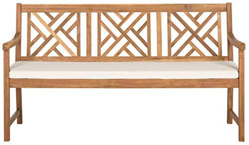 Safavieh PAT6738A Outdoor Collection Bradbury 3 Seat Bench, Natural Beige