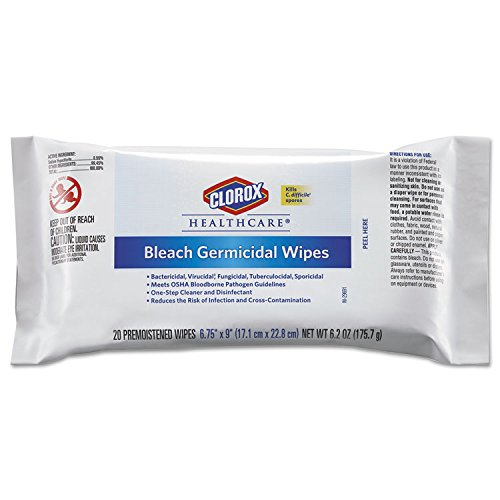 Clorox Healthcare Bleach Germicidal Wipes, 6 3/4 x 9, Unscented, 20/Pack, 24 Pack/Carton