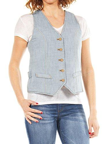 Wash vestibilità maniche senza donna jeans slim 500 Jeans Gilet Lavaggio Super 490 Chiaro per Stone Carrera Blu wYaqCzF