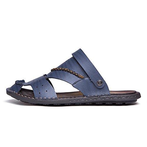 a da Blu Dimensione piedi trekking piatto moda da Slip Sandali da pelle vera uomo con Color spiaggia l'estate scarpe Sandali in in scarpe 2018 per Tacco alla viaggio Blu On in EU 45 Uomo BqxwgnA