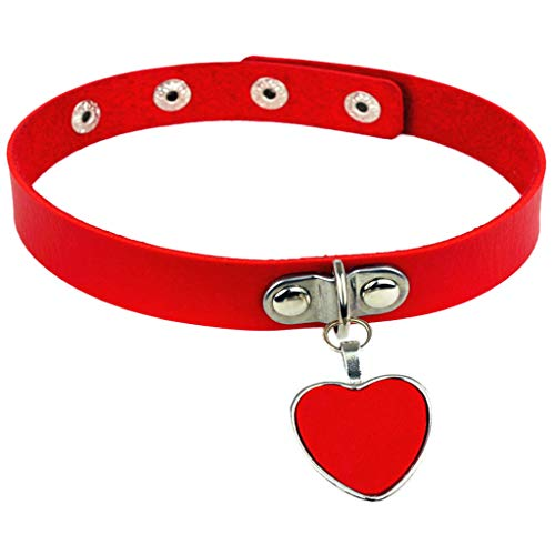 QueenMM  PU Imitation Leather Gothic Punk Choker Short Necklace with Heart Shape Dangle Drops Red