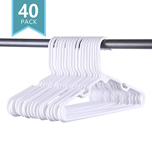 (SMART ONYE Pack of 40 Premium Small Plastic Kids Hangers,Sturdy Tubular Hangers,Design for 0-8 Years Old Children and Babies,Pure White)