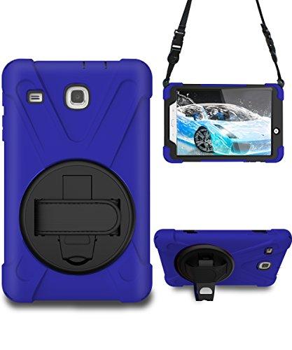 Galaxy Tab E 8.0 Case, STLDM Heavy Duty Shockproof Three Layers Hybrid Armor Impact Resistant Full-Body Protective Case Cover for Samsung Galaxy Tab E 8.0 Inch Tablet(SM-T377/SM-375) Blue Black