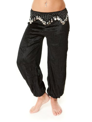 Belt Coin Harem (Velvet Belly Dance Harem Pants with Beaded Coin Hip Belt (Black with silver)