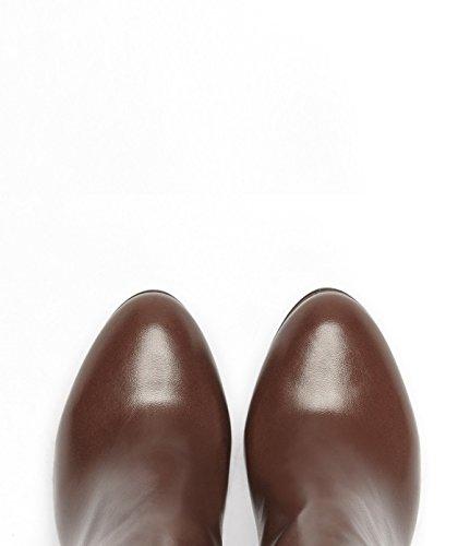 PoiLei Rena - Chelsea-Boot / elegante Damen-Schuhe / spitz-zulaufende High-Heel Stiefelette aus Echt-Leder - Ankle-Boot mit Block-Absatz und Elast-Einsatz braun