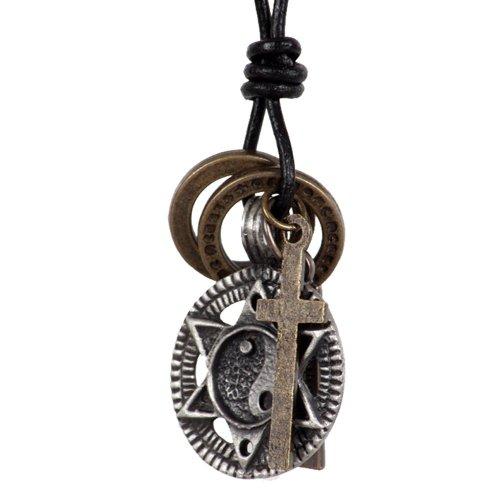 Vintage Cross Necklace Yin Yang Rings Pe
