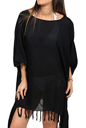 Ingear Swimsuit Cover Up Poncho Tunic Dress Beachwear Fringe Fashion Casual Wrap (One Size, Black)