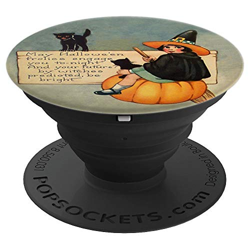 Halloween Vintage Card Cute Witch Black Cats & Poem - PopSockets Grip and Stand for Phones and Tablets