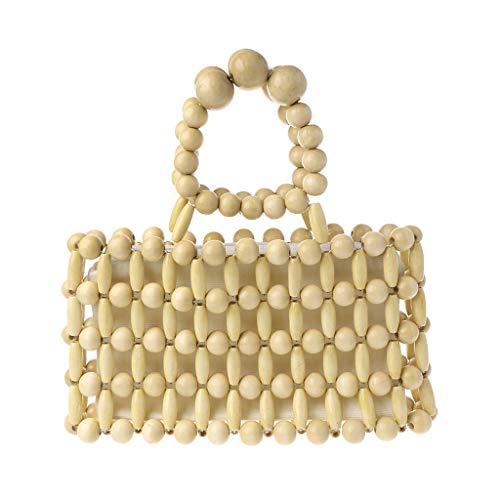 (Vintage Handmade Wood Bead Handbag Messenger Crossbody Bag Clutch Purse Tote Beach Vacation Shoulder Bags For Women Girls)