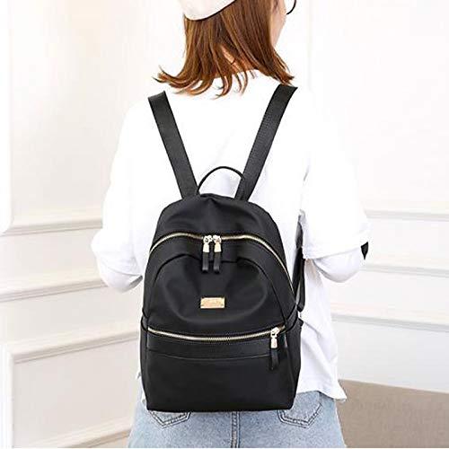 De para De bolso QZTG Mujer Bolsos del Totalizador Backpack Clásico Zipper Cloth Totalizador Capacidad Los De De Bolsos Bolsos Gran Mano Oxford Black Los qBPPxEw
