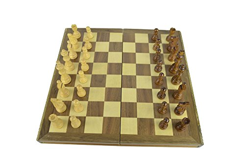 (Travel Chess Set - 12 Inch Magnetic Wooden Folding Board - Portable Chess Game Handmade in Fine Wood - Storage for Chessmen)