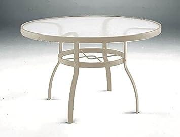 Round Umbrella Table W Acrylic Top   Deluxe Tables (Sandstone)