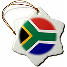 """3dRose LLC orn_158432_1 Porcelain Snowflake Ornament, 3-Inch, """"Flag of South Africa-Colorful Red Green Blue Black White Yellow African Souvenir"""""""