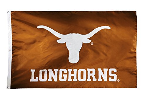 BSI NCAA Texas Longhorns 2-Sided Nylon Applique Flag with Grommets, 3' x 5', Texas Orange