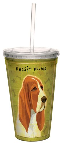 Tree-Free Greetings cc34059 Basset Hound by John W. Golden Artful Traveler Double-Walled Cool Cup with Reusable Straw, 16-Ounce Basset Hound Travel Mug