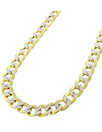 """14K Yellow Gold 6.5mm Hollow Cuban Curb Link - Diamond Cut Two-Tone Pave - Light-Weight - Necklace Chain 24"""" - 30"""""""