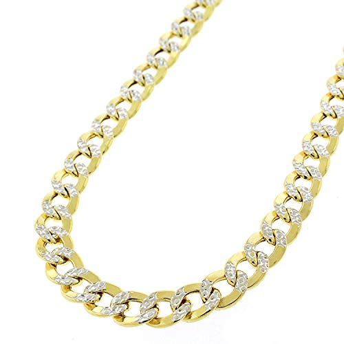14k Yellow Gold 6.5mm Hollow Cuban Curb Link Diamond Cut Two-Tone Pave Necklace Chain 24