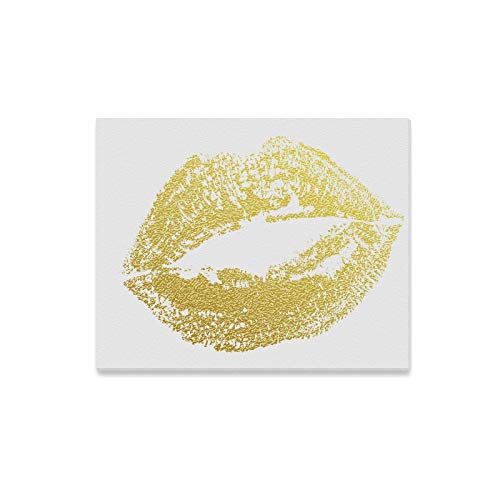 Wall Art Painting Gold Kiss Lips Imprint of Golden Glitter Lipstick Prints On Canvas The Picture Landscape Pictures Oil for Home Modern Decoration Print Decor for Living Room
