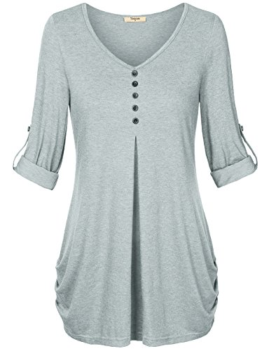 Timeson Long Sleeve T Shirt Women, Formal V-Neck Pleated Lightweight Knit Tunic Blouse Top Grey Medium