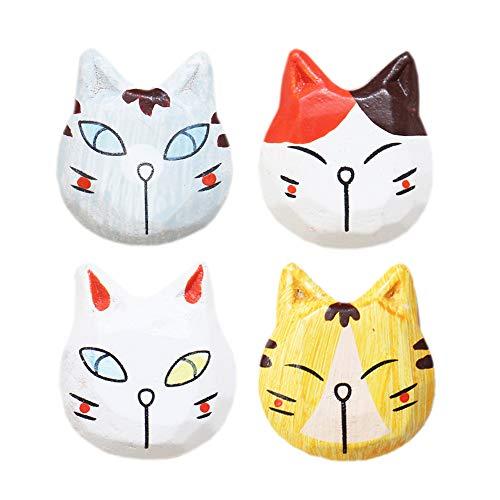 4pcs Hand-painted Cute Animal Cat Wood Art Fridge Magnets. ()
