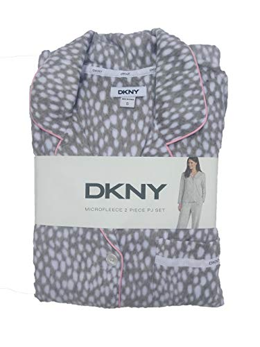 Dkny Animal Print - DKNY Microfleece 2 PC Pajama Set (X-Large, Grey Animal Print)