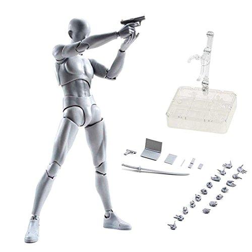 Espeedy Mannequin / modèle / figurine de dessin articulée avec éléments amovibles type Kun et Chan en PVC, version homme / femme ou ensemble homme + femme à choisir hombre gris