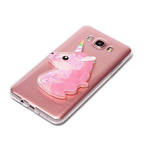 Funda Galaxy J7 2016, Caselover 3D Bling Silicona TPU Unicornio Carcasas para Samsung Galaxy J7 2016 J710 Glitter Líquido Arena Movediza Protección Caso Sparkle Brillar Cristal Tapa Case Suave Transpa Unicornio Rosa