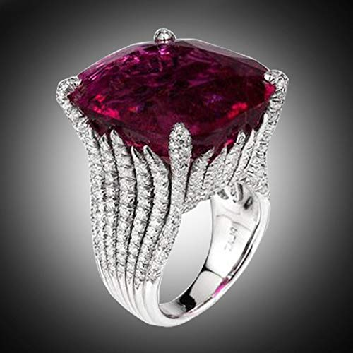 Letdown_rings Dazzling Women Fashion Natural Ruby Diamond Engagement Antique Ring Valentine's Festival Gifts for Boyfriend Girlfriend (US Size)