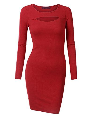 Doublju Women Long Sleeve Round Neck Girlish Midi Dress CRIMSON,L (Fancy Dress Uk)