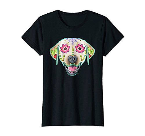 Womens Yellow Labrador Retriever   Day Of The Dead Sugar Skull Lab Xl Black