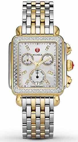 Michele Deco 120 Diamonds Two-Tone Mother of Pearl Women's Watch MWW06P000108