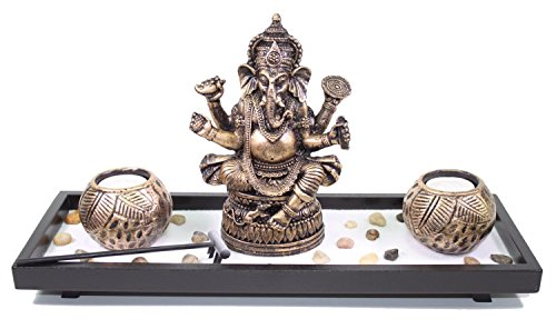 Elephant Ganesha Zen Garden Sand Rocks Candle Holder Home Decor Relaxing Gift