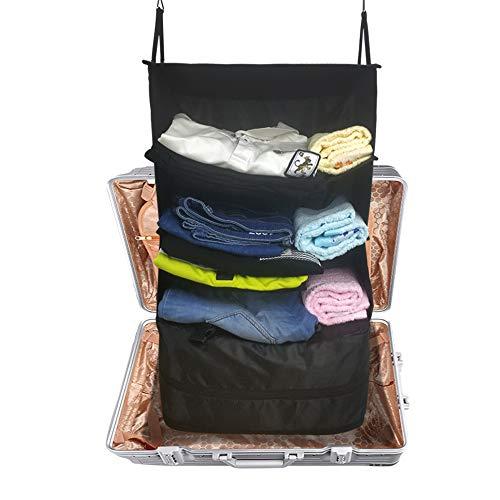 Durable Hanging Travel Packable Shelves Luggage System Organizer Shelf, Suitcase Organizer 3 Layers Wardrobe Foldable Bag