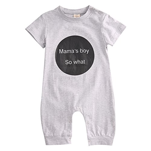 Baby Girl Boy Mama's So What Romper Jumpsuit Outfits Bodysuit Clothes (0-6M, Gray)