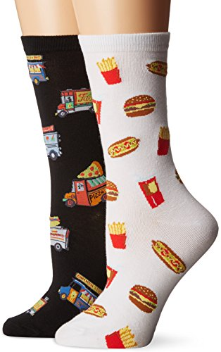 K. Bell Women's Original Collection Novelty Casual Crew Socks (2 Pack), Food Truck (Black/White), Shoe Size: 4-10