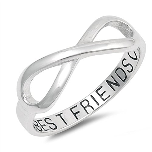 Infinity Best Friends Heart Ring .925 Sterling Silver Friendship Band Size 8