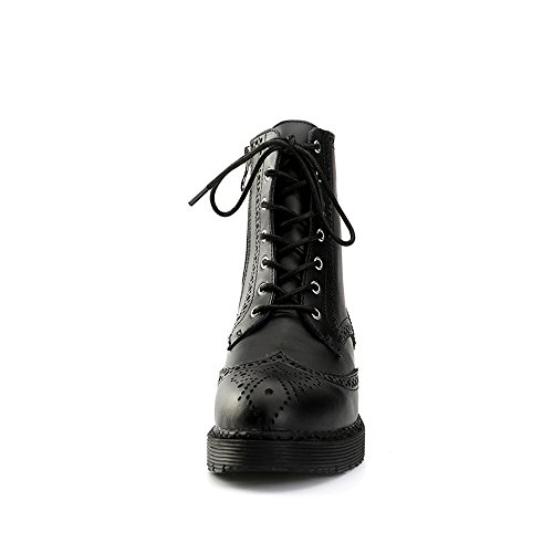 Alexis Leroy Women's Block Heel Lace Up Combat Mid Calf Leather Boots Black 6yDYJF5
