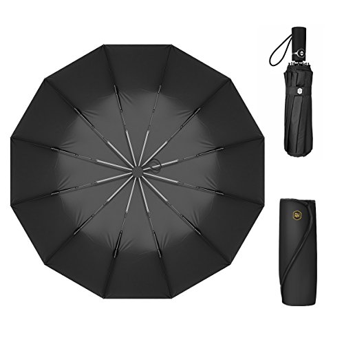 12 Ribs Travel Umbrella Windproof-Compact Umbrella with Auto Open/Close- Simplified Design Umbrella for Men&Women Ruxy Humy (Black) by Ruxy Humy