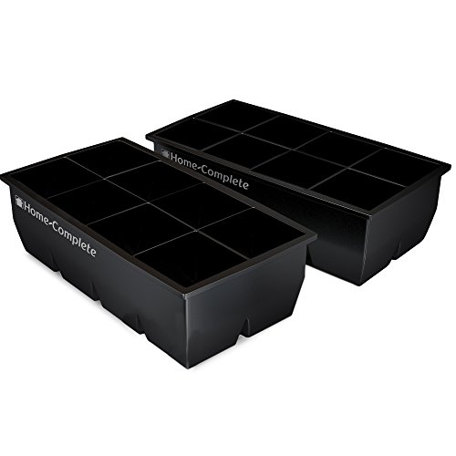 "Home-Complete HC-5100-2 Large Ice Molds-Set of 2 Silicone Trays Makes 8, 2""x 2"" Big Cubes BPA-Free, Flexible-Chill Water, Lemonade, Cocktails, and More, Black ()"