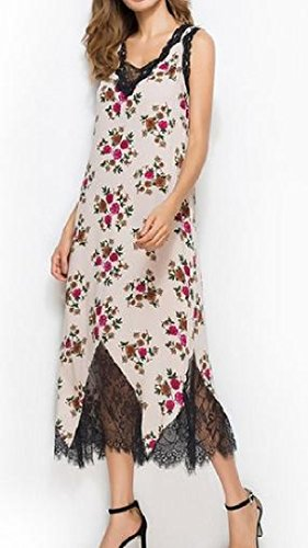 Contrast Knee Length Women's Evenning Red Dress Coolred Lace Floral Printed naWq4U
