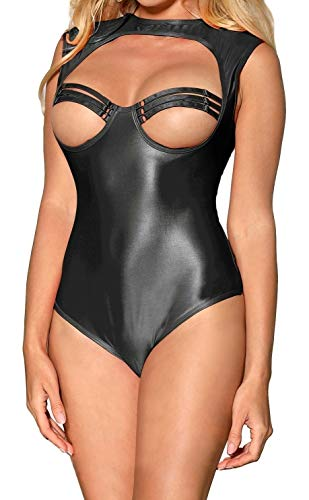 Womens Wet Look Zip Crotch Fishnet Bust Bodysuit Leotard Clubwear Teddy lingerie