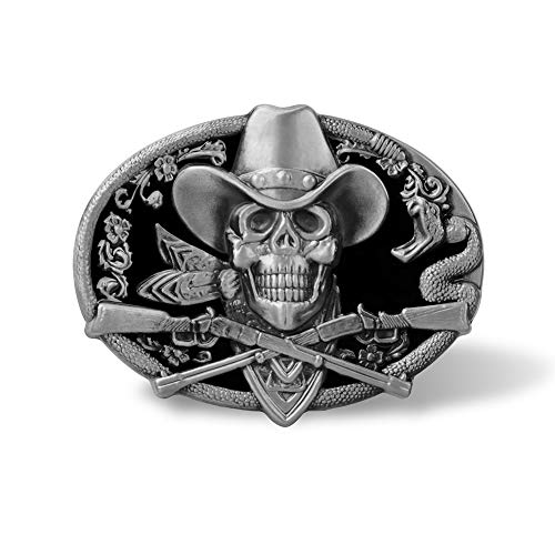 Scheppend Silver-Plated Western Cowboy Style Skull Belt Buckle for Men