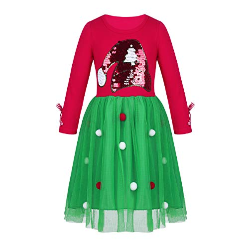 iEFiEL Kids Baby Girls Princess Dress Outfit Christmas Santa Hat Applique Long Sleeve Party Dress Xmas Costume Red&Green 4-5 -