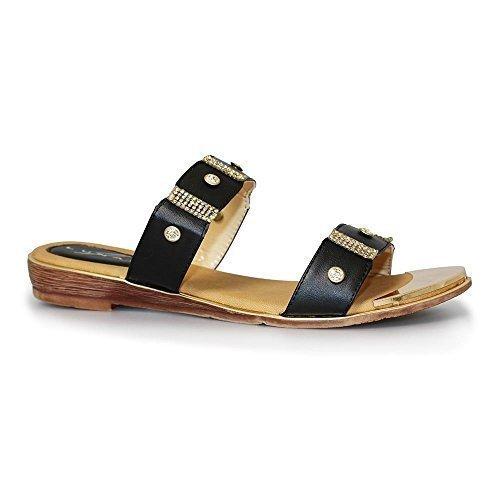 Saphir Boutique jlh718 ESTA Damen Peeptoe Strass Goldüberzug Absatz Modisch Low Pantolette Schwarz