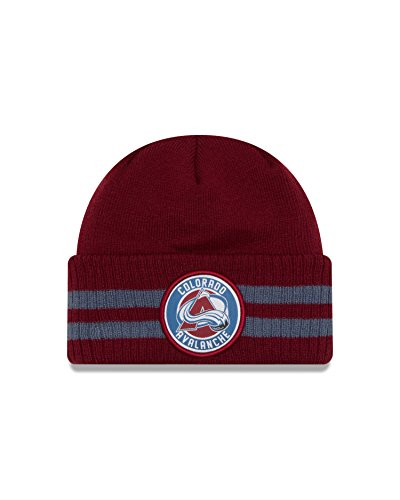 New Colorado Avalanche Nhl Cap (NHL Colorado Avalanche 2 Striped Remix Knit Beanie, One Size, Brick)