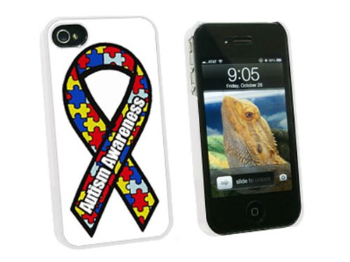 Graphics and More Autism Awareness Ribbon - Snap On Hard Protective Case for Apple iPhone 4 4S - White - Carrying Case - Non-Retail Packaging - (Awareness Iphone 4 Covers)