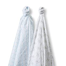 SwaddleDesigns SwaddleDuo 2 Piece Swaddle Blankets, Mod Elephant & Chickies Duo, Pastel Pink