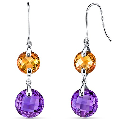 14 Karat White Gold Round Cut 10.00 Carats Citrine And Amethyst Dangle Earrings ()